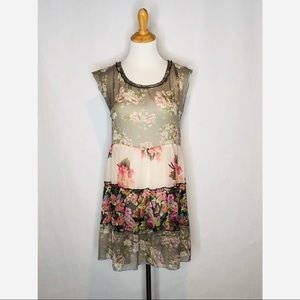 Band of Gypsies Sheer Floral Print Dress small